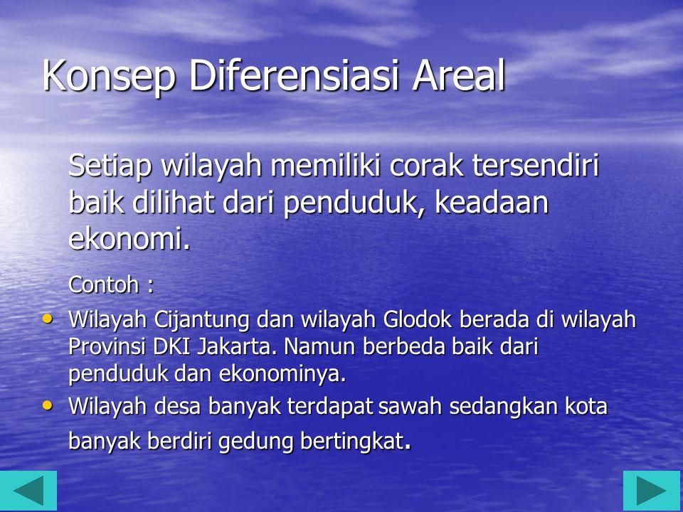 Konsep Diferensiasi Areal Setiap wilayah memiliki corak tersendiri baik dilihat dari penduduk, keadaan ekonomi. Contoh : Wilayah Cijantung dan wilayah