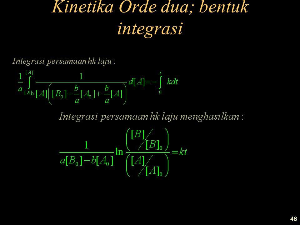 46 Kinetika Orde dua; bentuk integrasi