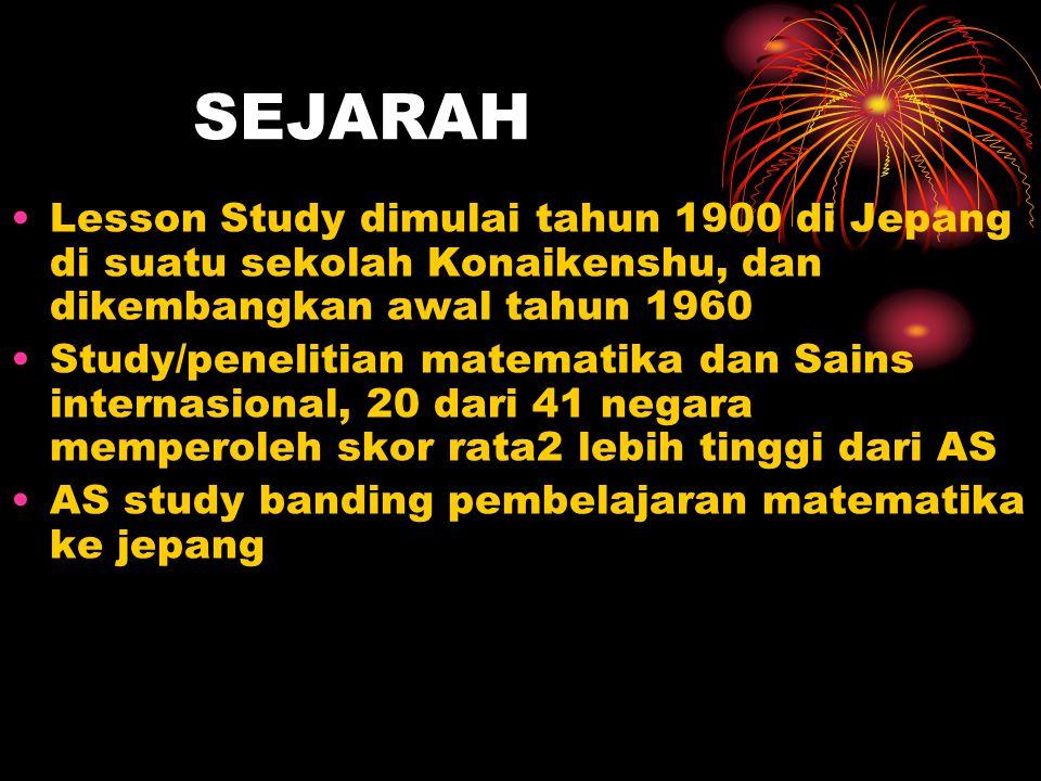 SEJARAH Lesson Study dimulai tahun 1900 di Jepang di suatu sekolah Konaikenshu, dan dikembangkan awal tahun 1960 Study/penelitian matematika dan Sains