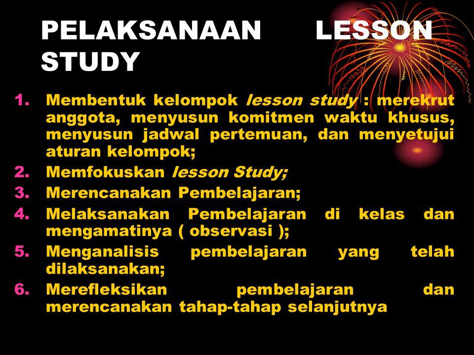 PELAKSANAAN LESSON STUDY 1.Membentuk kelompok lesson study : merekrut anggota, menyusun komitmen waktu khusus, menyusun jadwal pertemuan, dan menyetuj