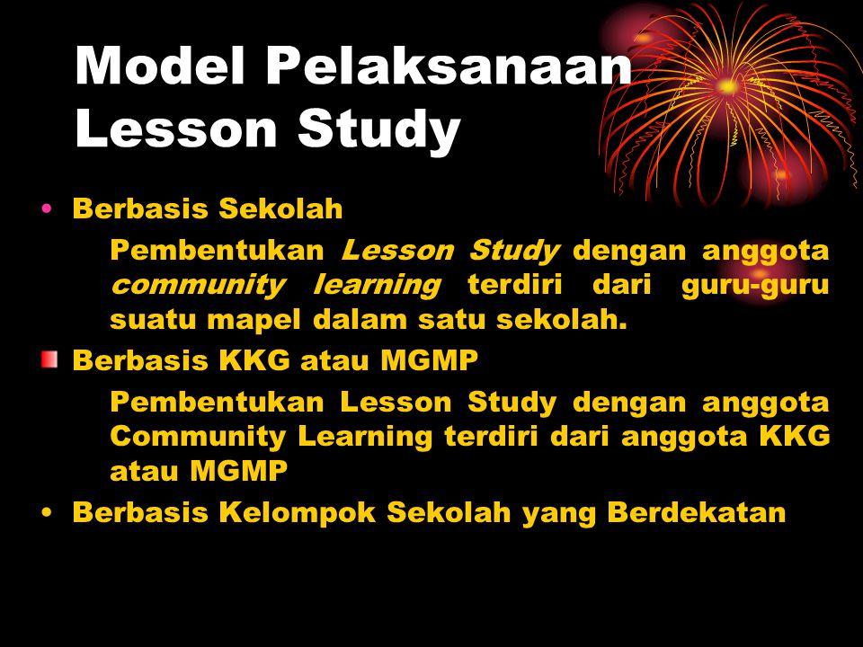 Model Pelaksanaan Lesson Study Berbasis Sekolah Pembentukan Lesson Study dengan anggota community learning terdiri dari guru-guru suatu mapel dalam sa
