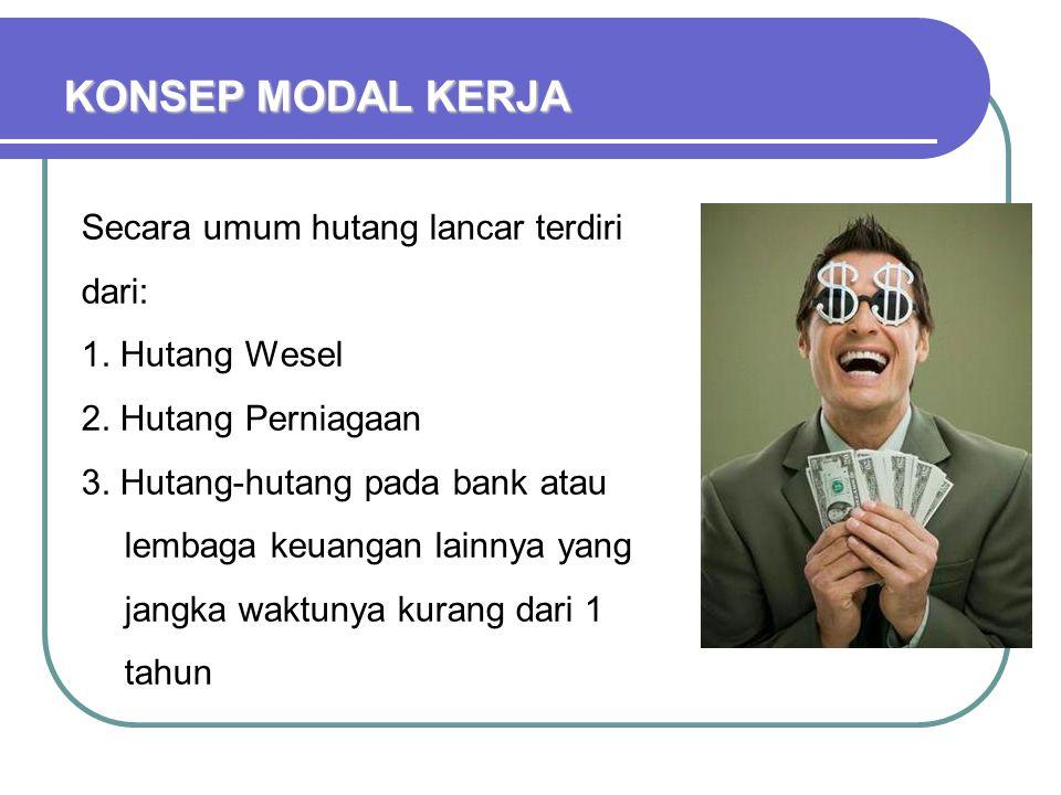 KONSEP MODAL KERJA Secara umum hutang lancar terdiri dari: 1. Hutang Wesel 2. Hutang Perniagaan 3. Hutang-hutang pada bank atau lembaga keuangan lainn