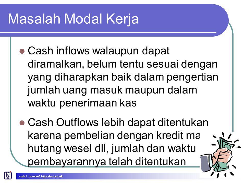 Masalah Modal Kerja Cash inflows walaupun dapat diramalkan, belum tentu sesuai dengan yang diharapkan baik dalam pengertian jumlah uang masuk maupun d