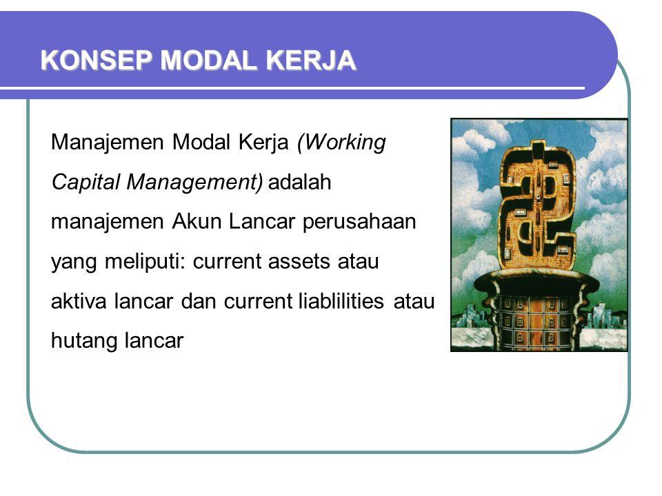 Manajemen Modal Kerja (Working Capital Management) adalah manajemen Akun Lancar perusahaan yang meliputi: current assets atau aktiva lancar dan curren