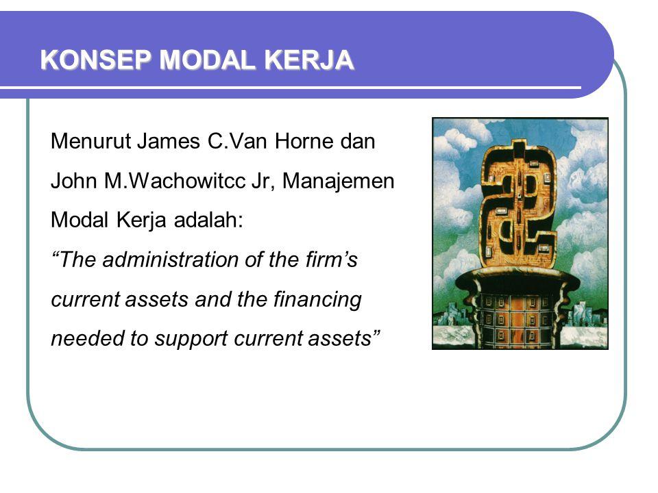 """KONSEP MODAL KERJA Menurut James C.Van Horne dan John M.Wachowitcc Jr, Manajemen Modal Kerja adalah: """"The administration of the firm's current assets"""