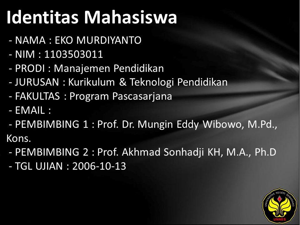 Identitas Mahasiswa - NAMA : EKO MURDIYANTO - NIM : 1103503011 - PRODI : Manajemen Pendidikan - JURUSAN : Kurikulum & Teknologi Pendidikan - FAKULTAS