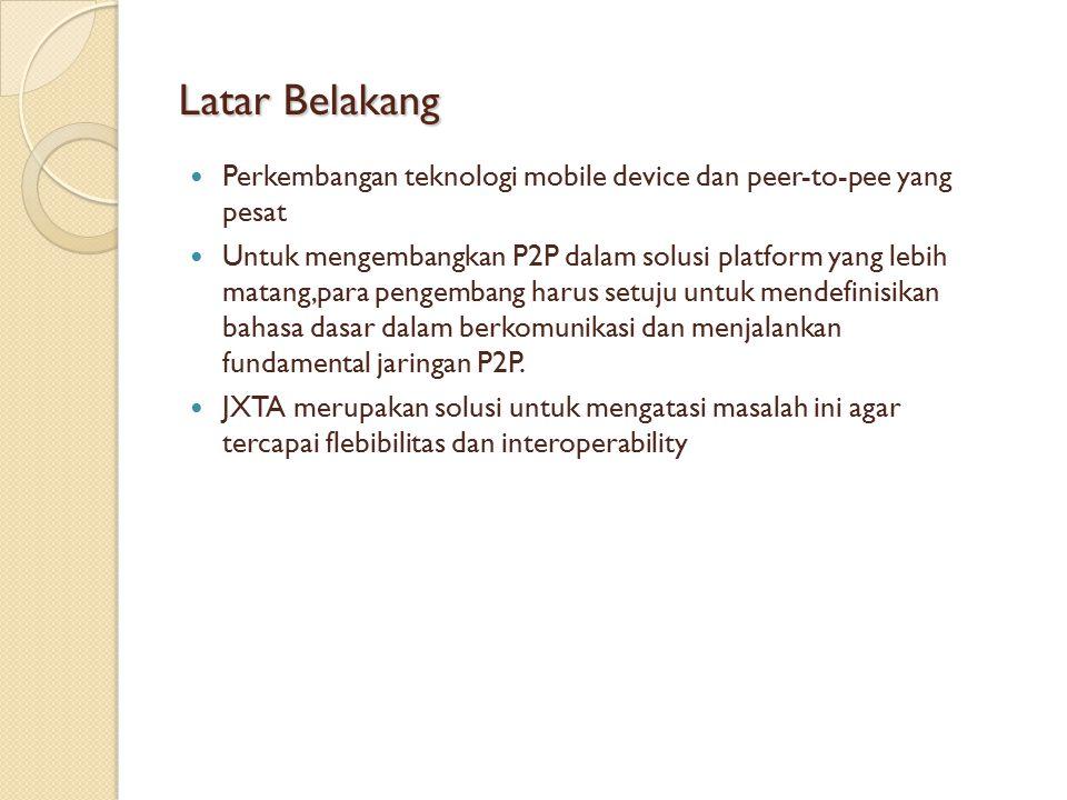 Latar Belakang Perkembangan teknologi mobile device dan peer-to-pee yang pesat Untuk mengembangkan P2P dalam solusi platform yang lebih matang,para pengembang harus setuju untuk mendefinisikan bahasa dasar dalam berkomunikasi dan menjalankan fundamental jaringan P2P.