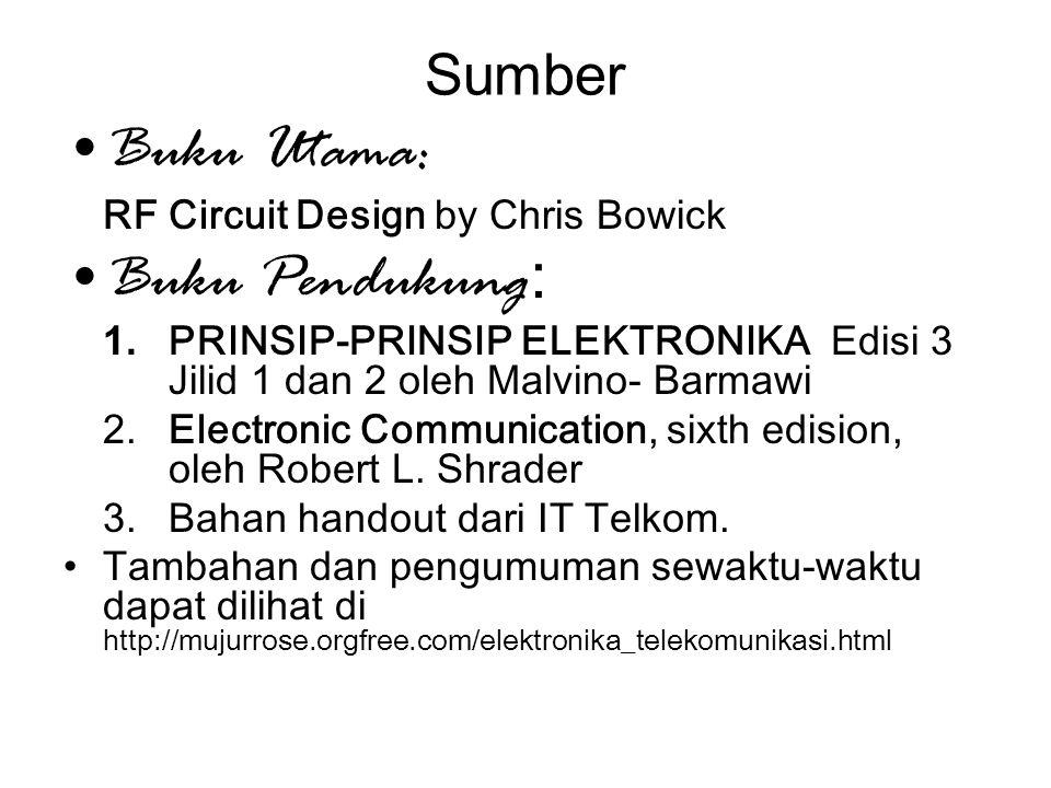 Sumber Buku Utama: RF Circuit Design by Chris Bowick Buku Pendukung : 1. PRINSIP-PRINSIP ELEKTRONIKA Edisi 3 Jilid 1 dan 2 oleh Malvino- Barmawi 2.Ele