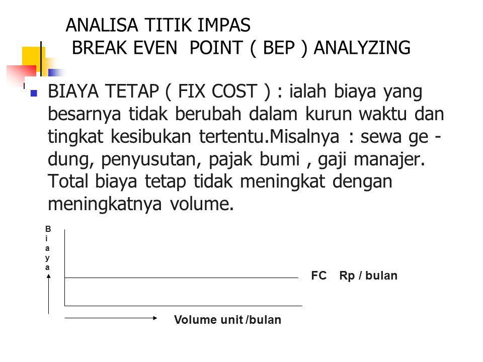 14 ANALISA TITIK IMPAS BREAK EVEN POINT ( BEP ) ANALYZING BIAYA VARIABEL ( VARIABLE COST ) : biaya yang berubah dalam suatu lingkup waktu tertentu atau dalam batas pengerjaan tertentu.