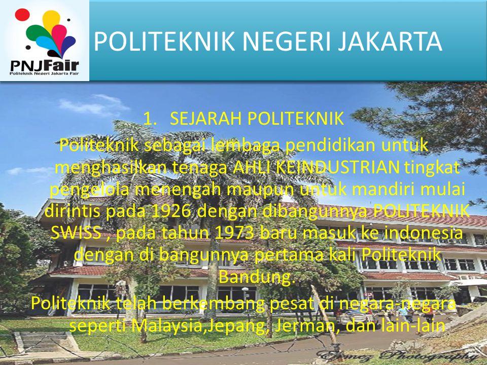 1.SEJARAH POLITEKNIK Politeknik sebagai lembaga pendidikan untuk menghasilkan tenaga AHLI KEINDUSTRIAN tingkat pengelola menengah maupun untuk mandiri