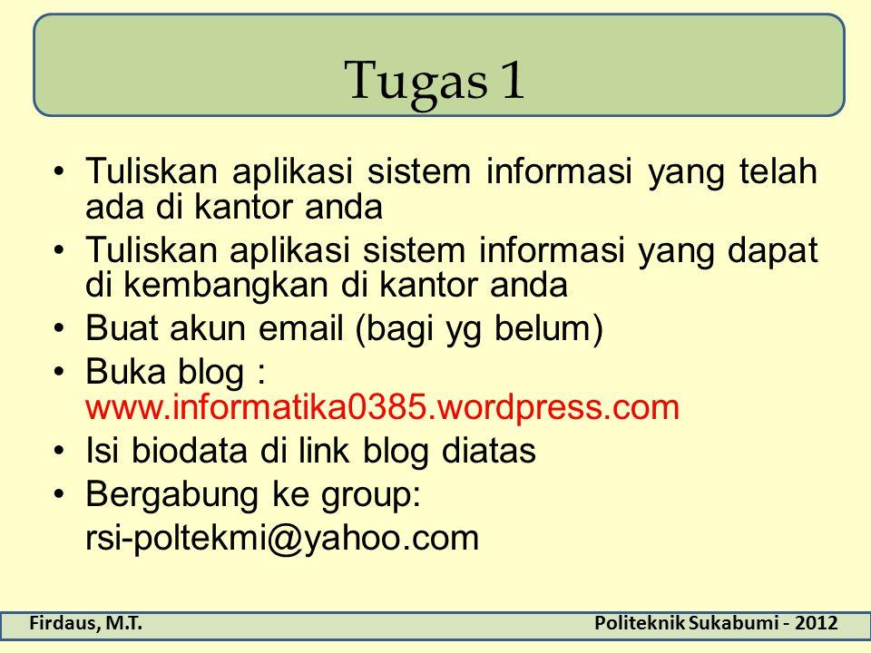 Firdaus, M.T.Politeknik Sukabumi - 2012 Tugas 1 Tuliskan aplikasi sistem informasi yang telah ada di kantor anda Tuliskan aplikasi sistem informasi yang dapat di kembangkan di kantor anda Buat akun email (bagi yg belum) Buka blog : www.informatika0385.wordpress.com Isi biodata di link blog diatas Bergabung ke group: rsi-poltekmi@yahoo.com