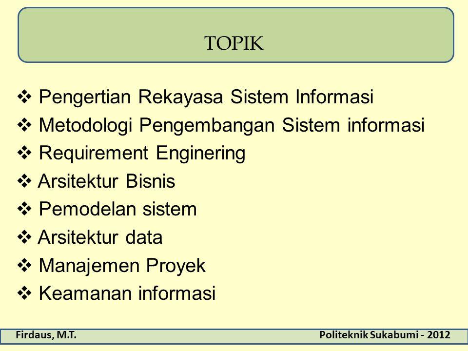 Firdaus, M.T.Politeknik Sukabumi - 2012 TOPIK  Pengertian Rekayasa Sistem Informasi  Metodologi Pengembangan Sistem informasi  Requirement Enginering  Arsitektur Bisnis  Pemodelan sistem  Arsitektur data  Manajemen Proyek  Keamanan informasi