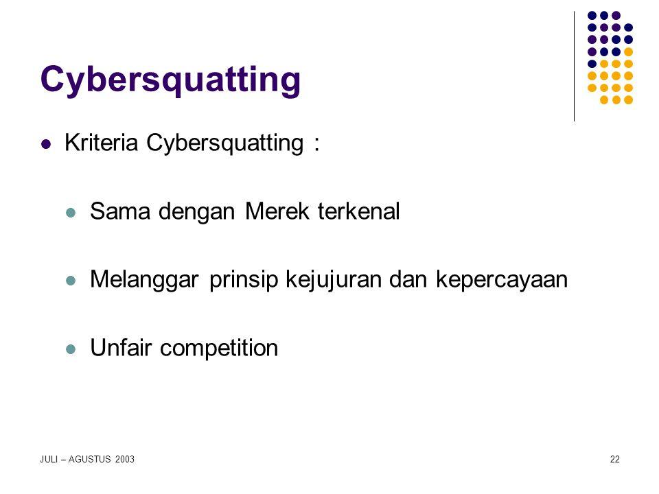 JULI – AGUSTUS 200322 Cybersquatting Kriteria Cybersquatting : Sama dengan Merek terkenal Melanggar prinsip kejujuran dan kepercayaan Unfair competiti