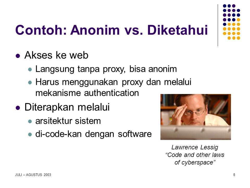 8 Contoh: Anonim vs. Diketahui Akses ke web Langsung tanpa proxy, bisa anonim Harus menggunakan proxy dan melalui mekanisme authentication Diterapkan