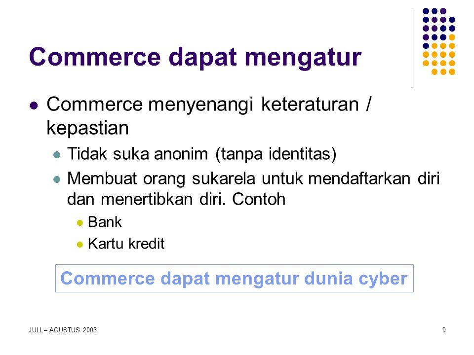 JULI – AGUSTUS 20039 Commerce dapat mengatur Commerce menyenangi keteraturan / kepastian Tidak suka anonim (tanpa identitas) Membuat orang sukarela un