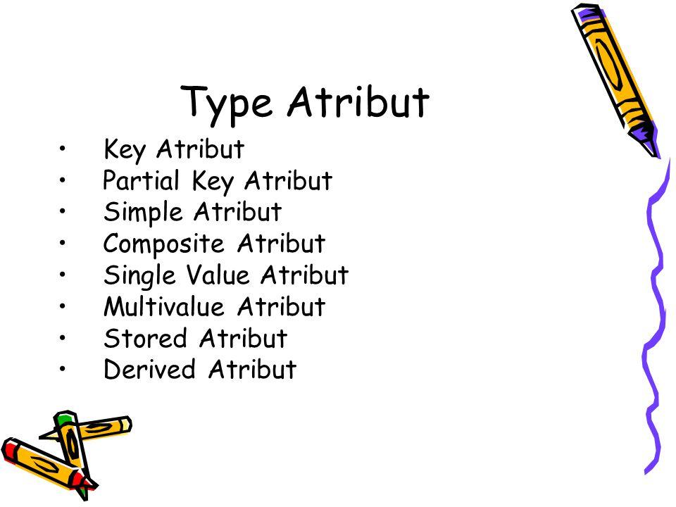 Type Atribut Key Atribut Partial Key Atribut Simple Atribut Composite Atribut Single Value Atribut Multivalue Atribut Stored Atribut Derived Atribut