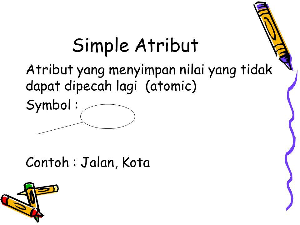 Simple Atribut Atribut yang menyimpan nilai yang tidak dapat dipecah lagi (atomic) Symbol : Contoh : Jalan, Kota