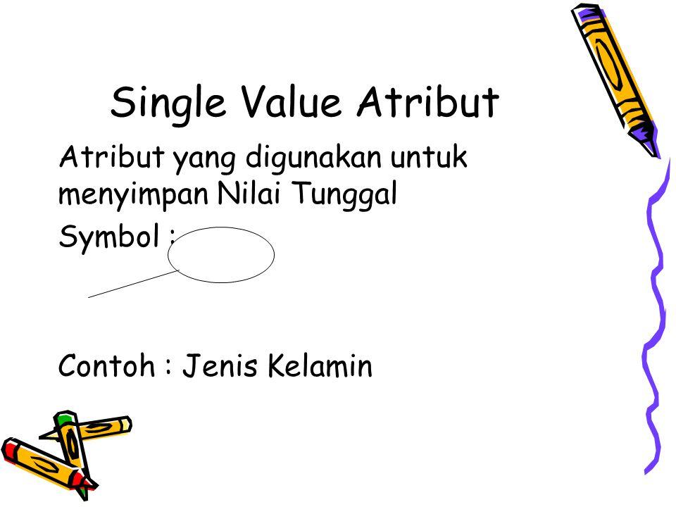 Single Value Atribut Atribut yang digunakan untuk menyimpan Nilai Tunggal Symbol : Contoh : Jenis Kelamin