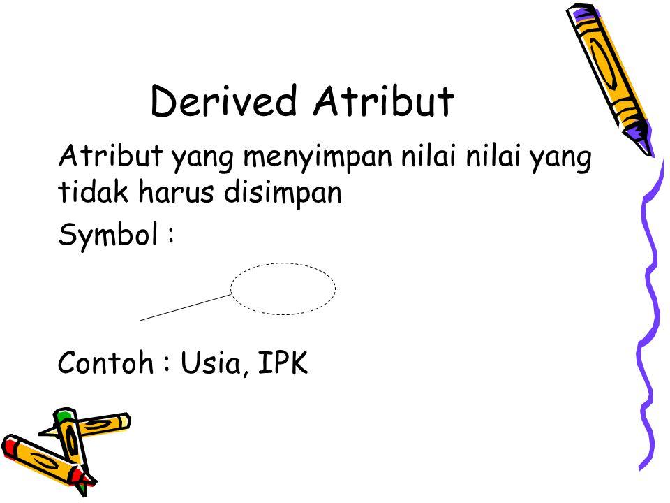 Derived Atribut Atribut yang menyimpan nilai nilai yang tidak harus disimpan Symbol : Contoh : Usia, IPK