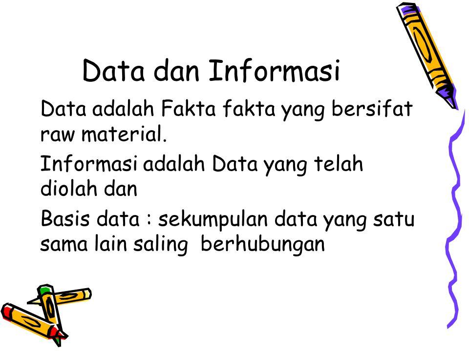 Data dan Informasi Data adalah Fakta fakta yang bersifat raw material. Informasi adalah Data yang telah diolah dan Basis data : sekumpulan data yang s