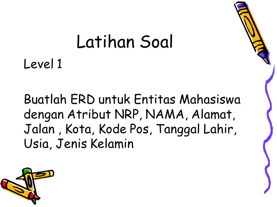 Latihan Soal Level 1 Buatlah ERD untuk Entitas Mahasiswa dengan Atribut NRP, NAMA, Alamat, Jalan, Kota, Kode Pos, Tanggal Lahir, Usia, Jenis Kelamin