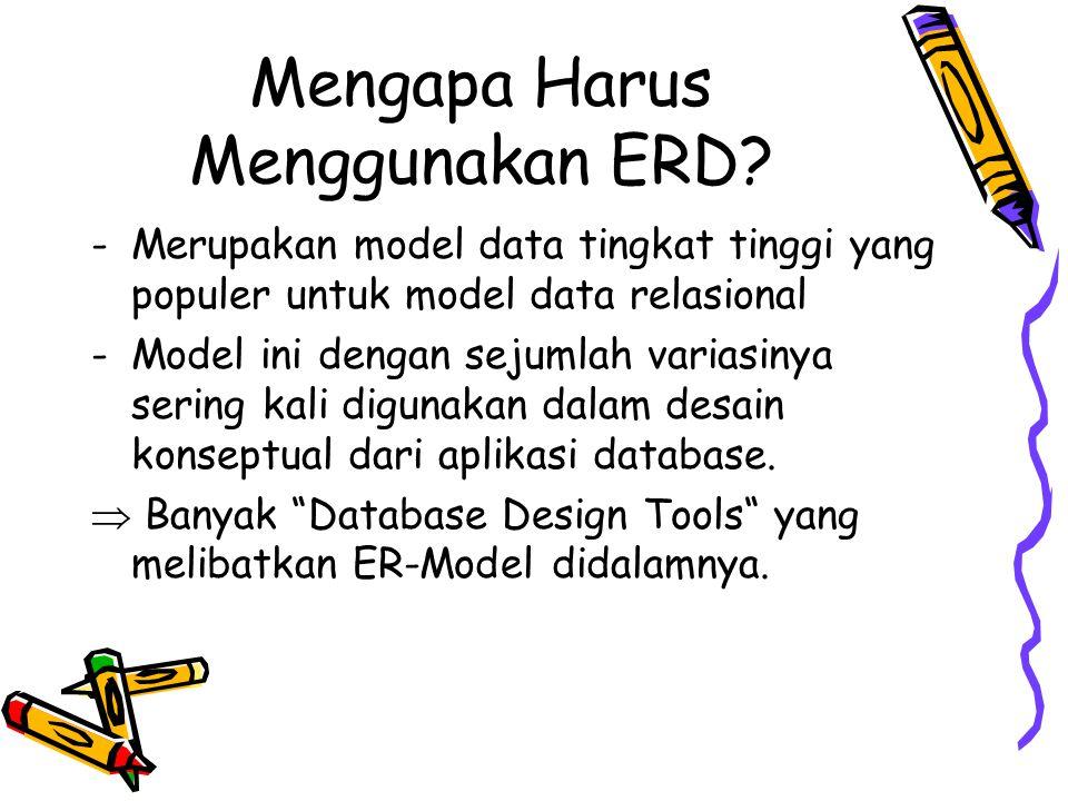 Fungsi ERD ERD merupakan suatu model untuk menjelaskan hubungan antar data dalam basis data berdasarkan objek-objek dasar data yang mempunyai hubungan antar relasi.