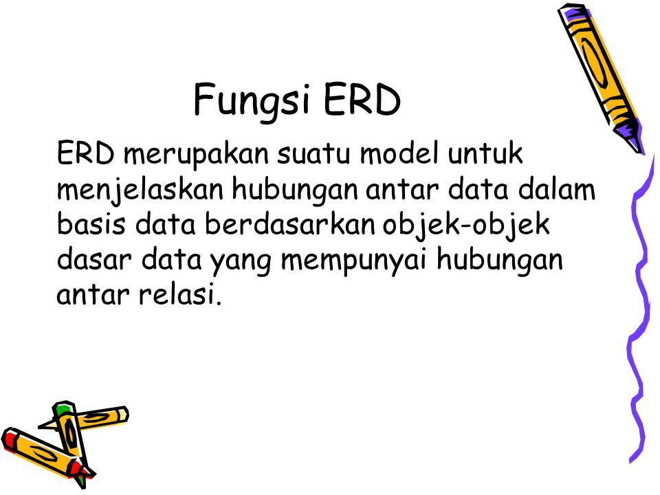 Fungsi ERD ERD merupakan suatu model untuk menjelaskan hubungan antar data dalam basis data berdasarkan objek-objek dasar data yang mempunyai hubungan