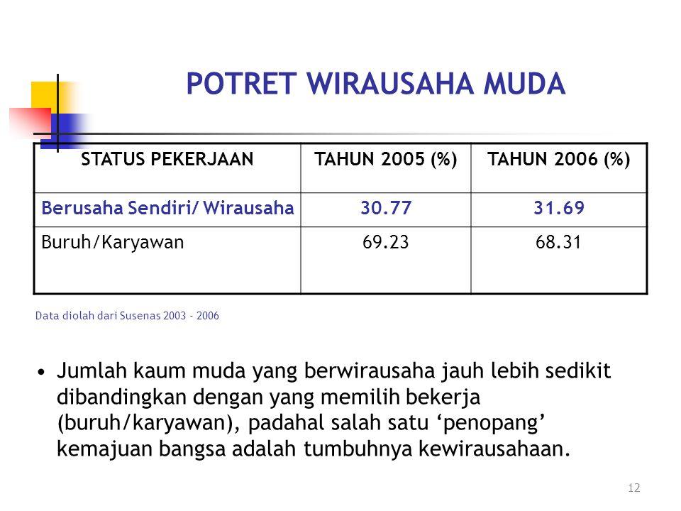12 POTRET WIRAUSAHA MUDA STATUS PEKERJAANTAHUN 2005 (%)TAHUN 2006 (%) Berusaha Sendiri/ Wirausaha30.7731.69 Buruh/Karyawan69.2368.31 Data diolah dari