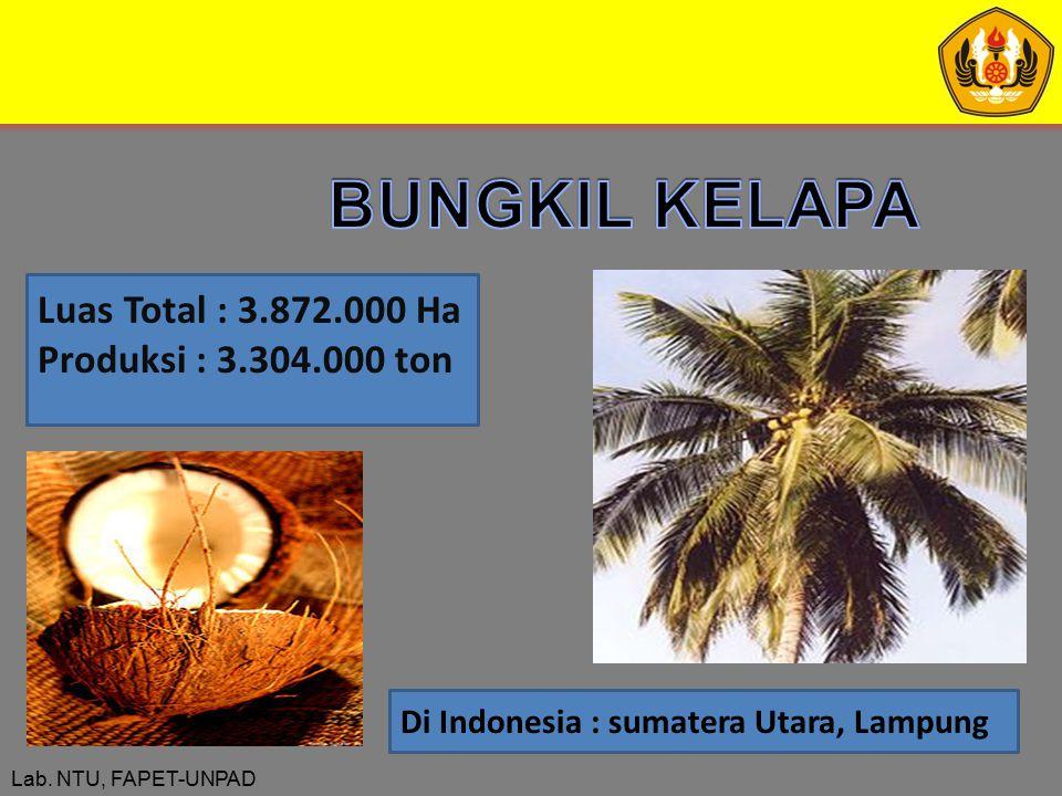 Lab. NTU, FAPET-UNPAD Luas Total : 3.872.000 Ha Produksi : 3.304.000 ton Di Indonesia : sumatera Utara, Lampung