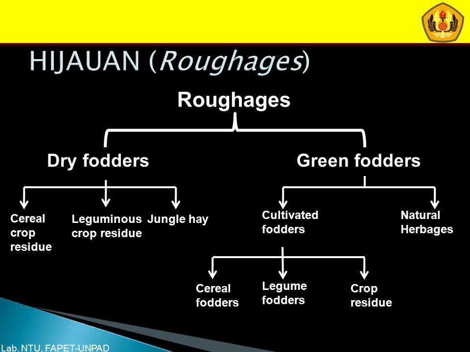 Roughages Dry foddersGreen fodders Cereal crop residue Leguminous crop residue Jungle hay Cultivated fodders Natural Herbages Cereal fodders Legume fo