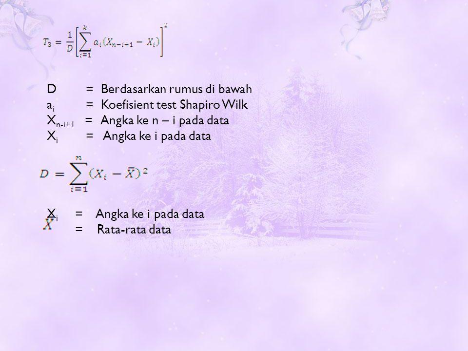 D = Berdasarkan rumus di bawah a i = Koefisient test Shapiro Wilk X n-i+1 = Angka ke n – i pada data X i = Angka ke i pada data X i = Angka ke i pada data = Rata-rata data