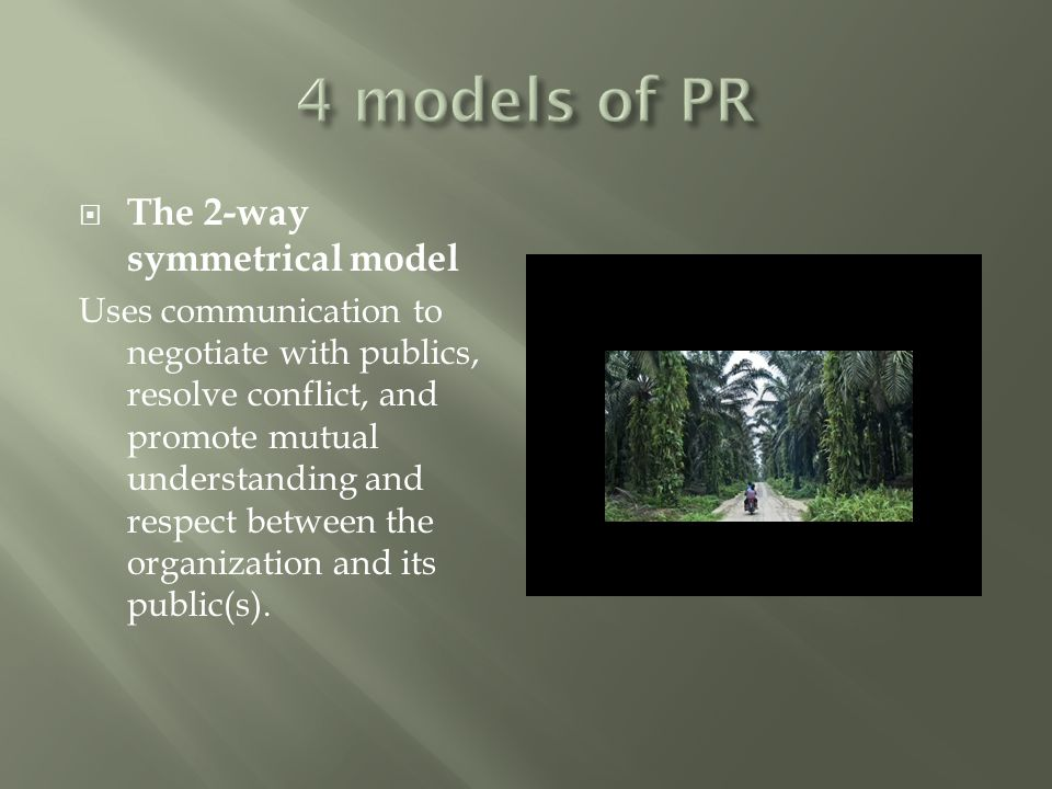  The 2-way symmetrical model Uses communication to negotiate with publics, resolve conflict, and promote mutual understanding and respect between the organization and its public(s).