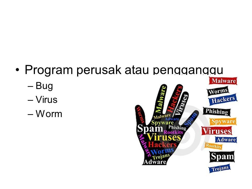 Program perusak atau pengganggu –Bug –Virus –Worm