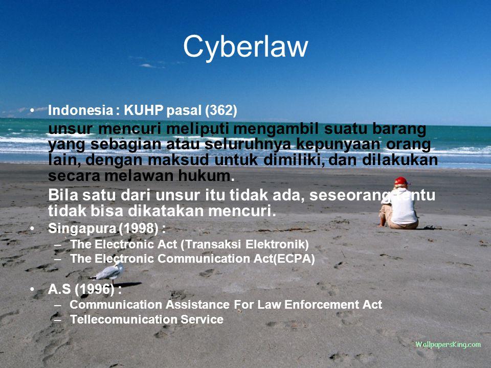 Cyberlaw Indonesia : KUHP pasal (362) unsur mencuri meliputi mengambil suatu barang yang sebagian atau seluruhnya kepunyaan orang lain, dengan maksud