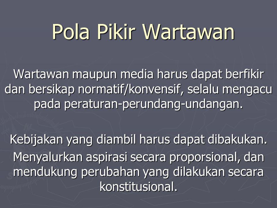 Pola Pikir Wartawan Wartawan maupun media harus dapat berfikir dan bersikap normatif/konvensif, selalu mengacu pada peraturan-perundang-undangan. Kebi