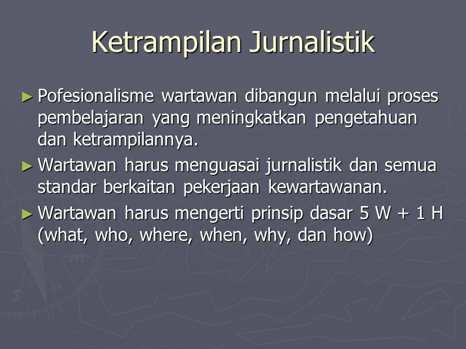 Ketrampilan Jurnalistik ► Pofesionalisme wartawan dibangun melalui proses pembelajaran yang meningkatkan pengetahuan dan ketrampilannya. ► Wartawan ha