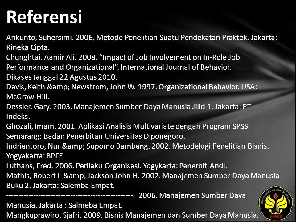 Referensi Arikunto, Suhersimi. 2006. Metode Penelitian Suatu Pendekatan Praktek.