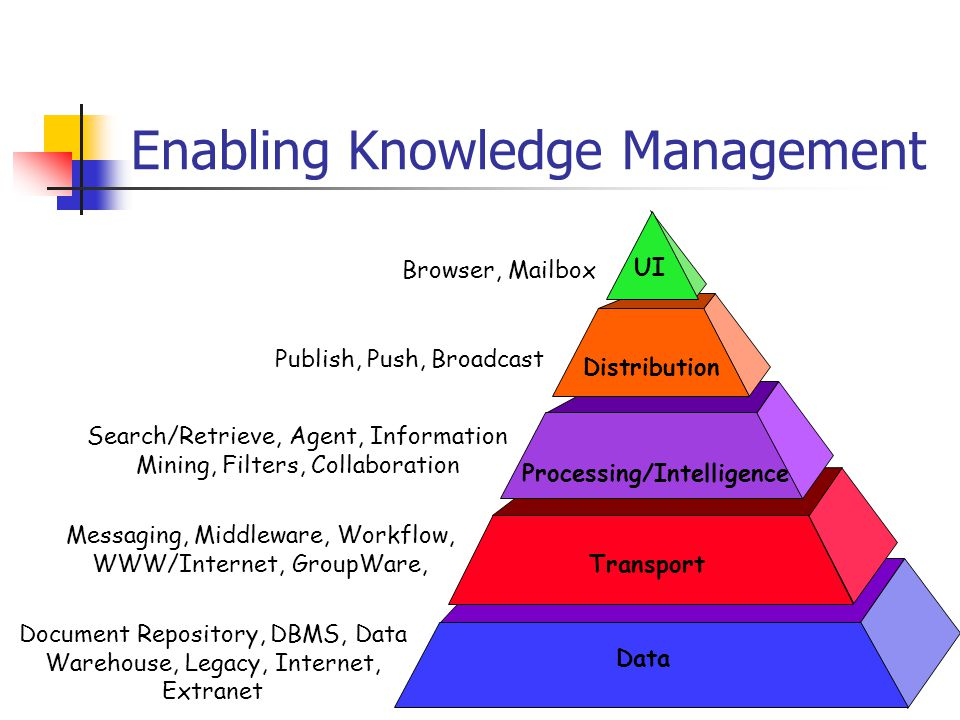 Enabling Knowledge Management Browser, Mailbox UI Distribution Processing/Intelligence Transport Data Publish, Push, Broadcast Search/Retrieve, Agent, Information Mining, Filters, Collaboration Messaging, Middleware, Workflow, WWW/Internet, GroupWare, Document Repository, DBMS, Data Warehouse, Legacy, Internet, Extranet