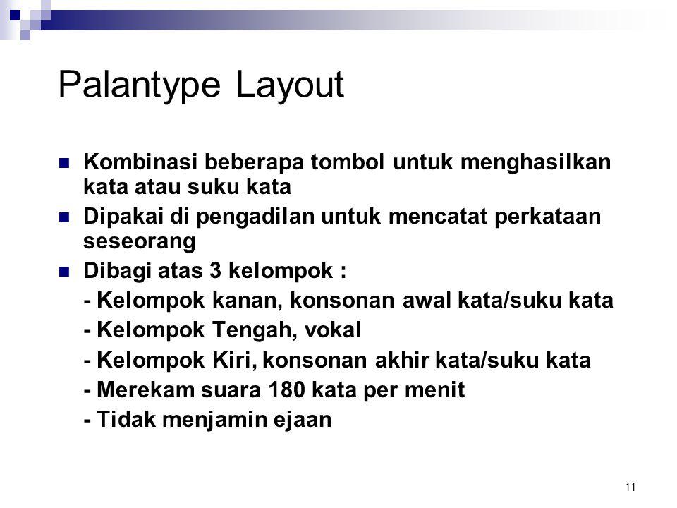11 Palantype Layout Kombinasi beberapa tombol untuk menghasilkan kata atau suku kata Dipakai di pengadilan untuk mencatat perkataan seseorang Dibagi a