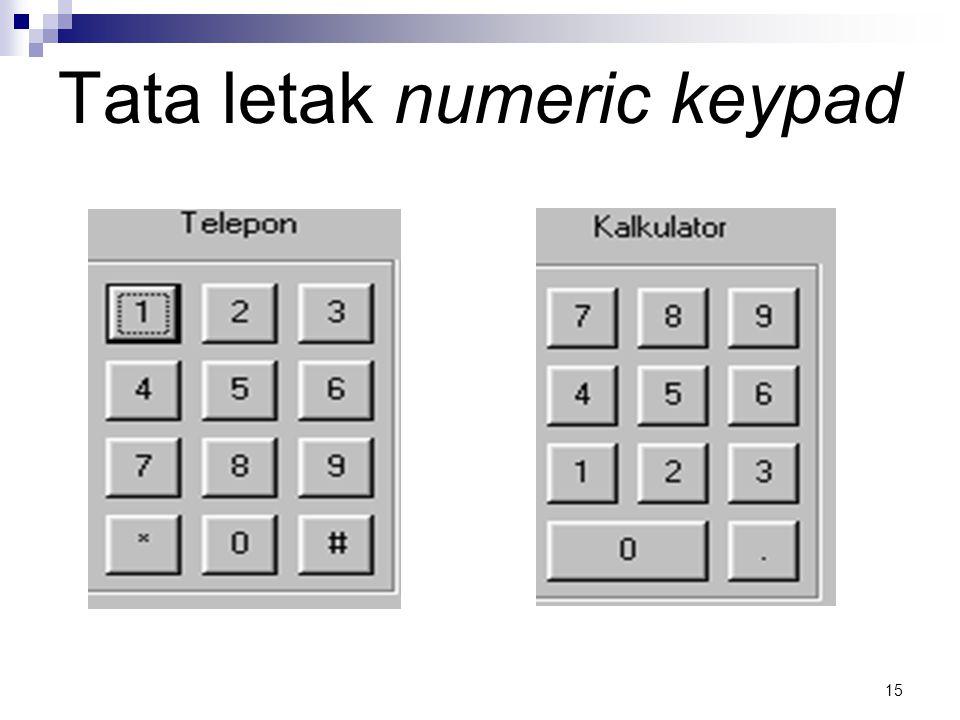 15 Tata letak numeric keypad