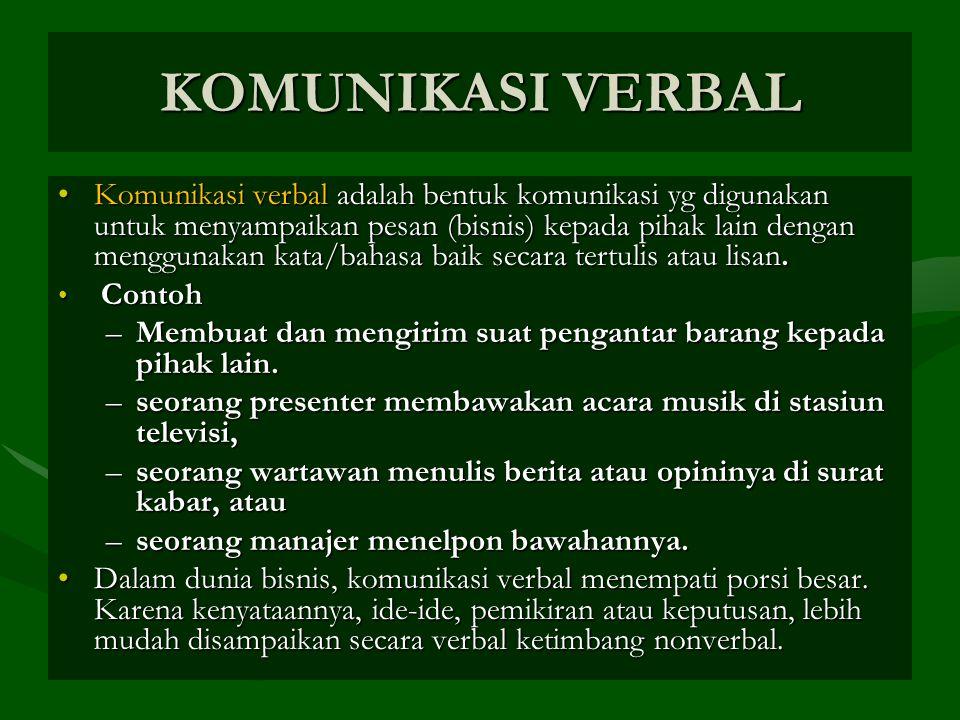 KOMUNIKASI VERBAL Komunikasi verbal adalah bentuk komunikasi yg digunakan untuk menyampaikan pesan (bisnis) kepada pihak lain dengan menggunakan kata/