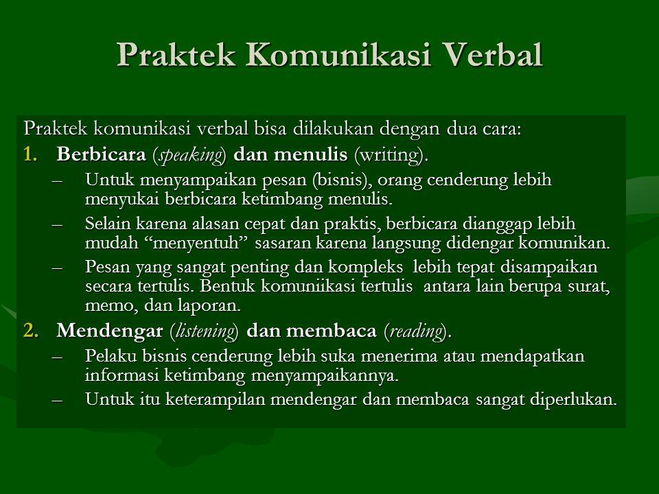 Praktek Komunikasi Verbal Praktek komunikasi verbal bisa dilakukan dengan dua cara: 1.Berbicara (speaking) dan menulis (writing). –Untuk menyampaikan