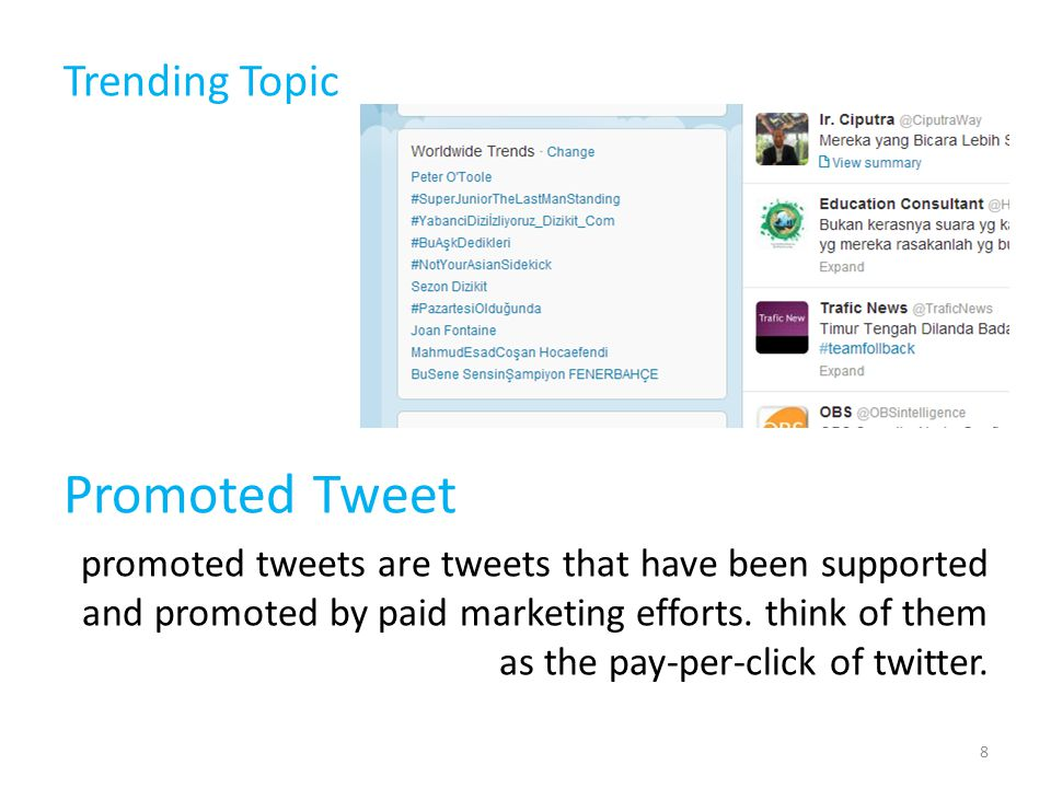 Trending Topic Promoted Tweet promoted tweets are tweets that have been supported and promoted by paid marketing efforts.