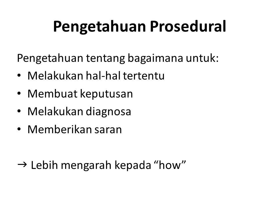 Pengetahuan Prosedural Pengetahuan tentang bagaimana untuk: Melakukan hal-hal tertentu Membuat keputusan Melakukan diagnosa Memberikan saran  Lebih m