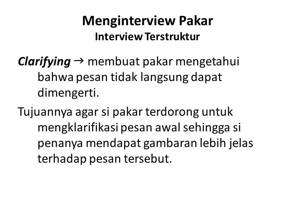 Menginterview Pakar Interview Terstruktur Clarifying  membuat pakar mengetahui bahwa pesan tidak langsung dapat dimengerti. Tujuannya agar si pakar t