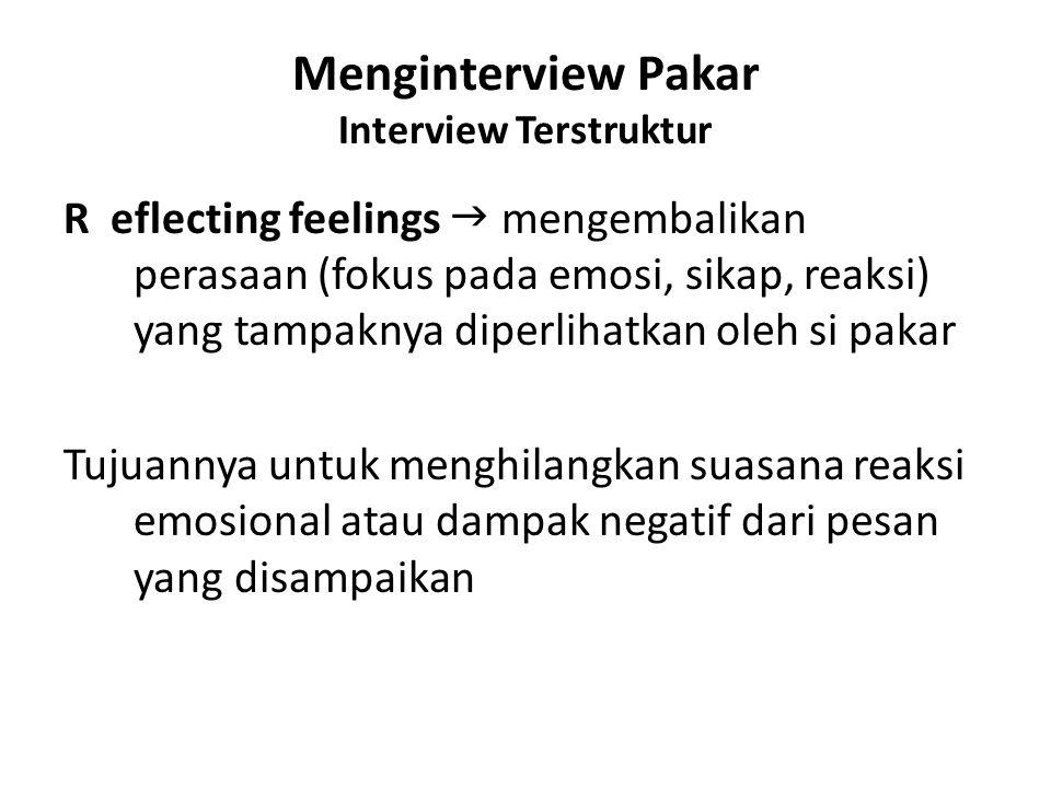 Menginterview Pakar Interview Terstruktur R eflecting feelings  mengembalikan perasaan (fokus pada emosi, sikap, reaksi) yang tampaknya diperlihatkan