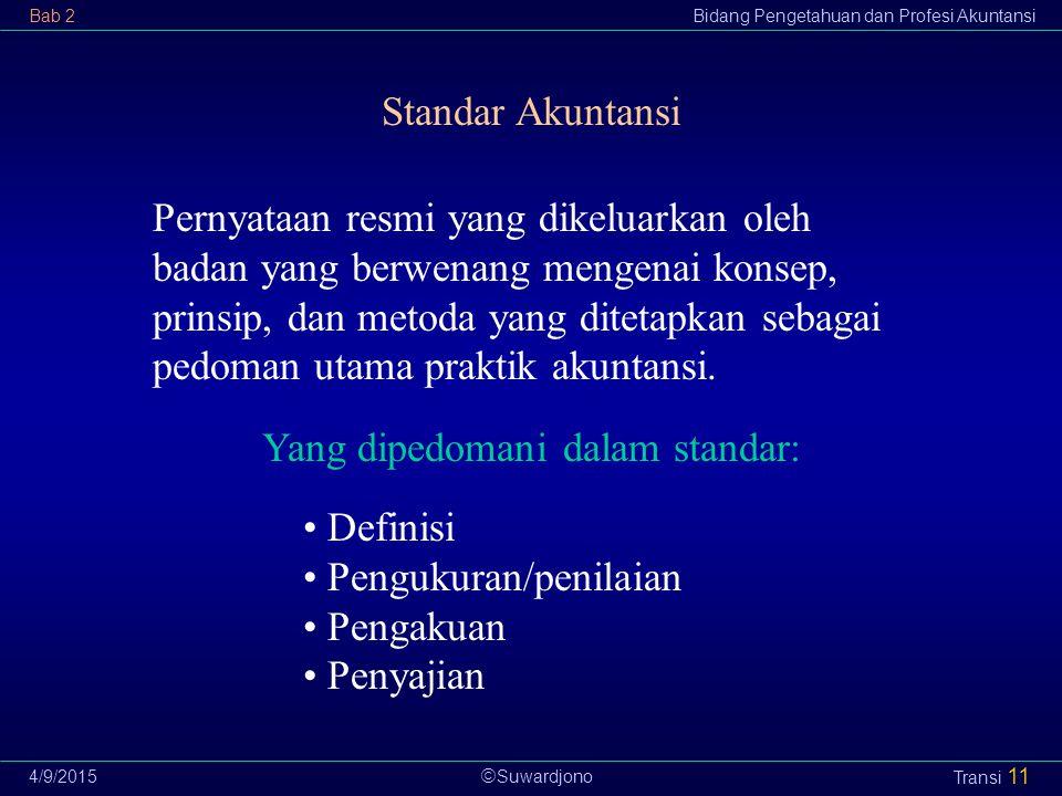  Suwardjono Bab 2Bidang Pengetahuan dan Profesi Akuntansi 4/9/2015 Transi 11 Standar Akuntansi Pernyataan resmi yang dikeluarkan oleh badan yang berw