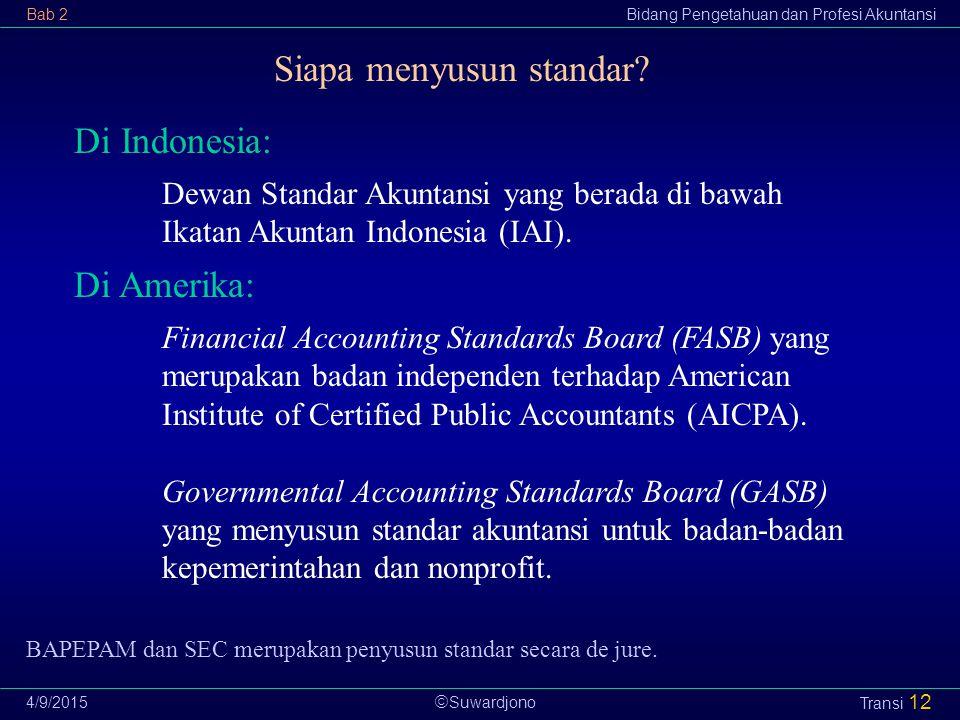  Suwardjono Bab 2Bidang Pengetahuan dan Profesi Akuntansi 4/9/2015 Transi 12 Di Indonesia: Dewan Standar Akuntansi yang berada di bawah Ikatan Akunta