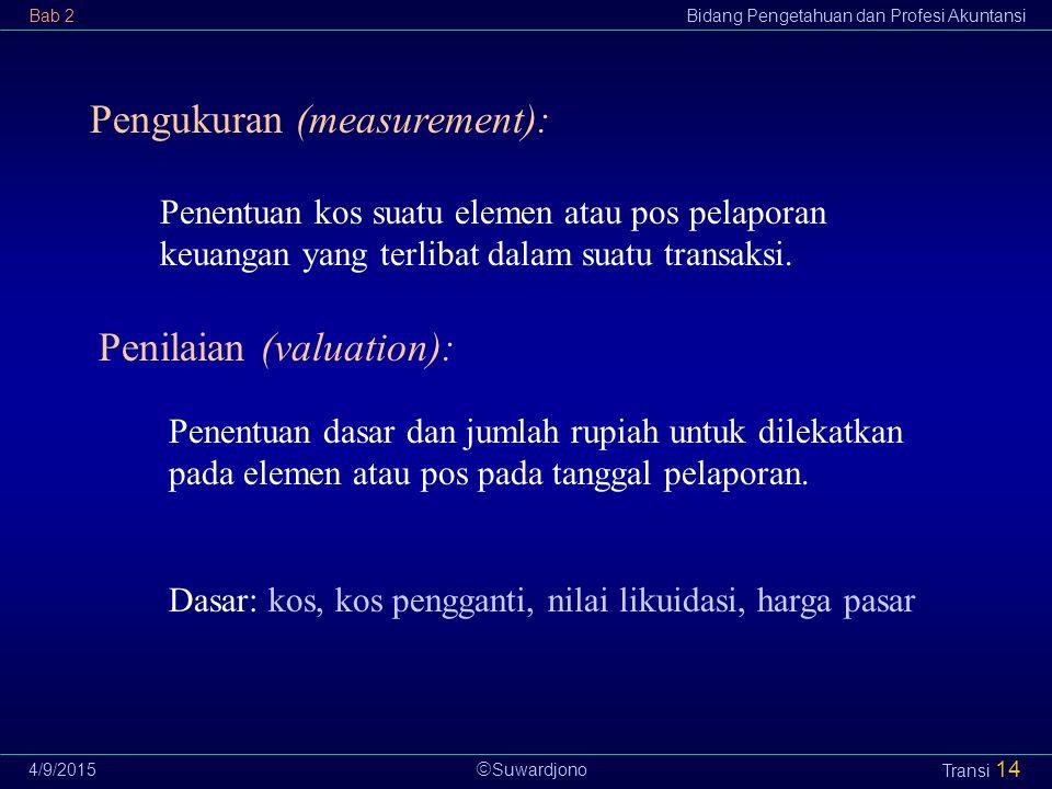  Suwardjono Bab 2Bidang Pengetahuan dan Profesi Akuntansi 4/9/2015 Transi 14 Pengukuran (measurement): Penentuan kos suatu elemen atau pos pelaporan
