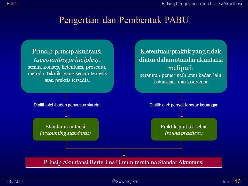  Suwardjono Bab 2Bidang Pengetahuan dan Profesi Akuntansi 4/9/2015 Transi 16 Prinsip-prinsip akuntansi (accounting principles): semua konsep, ketentu